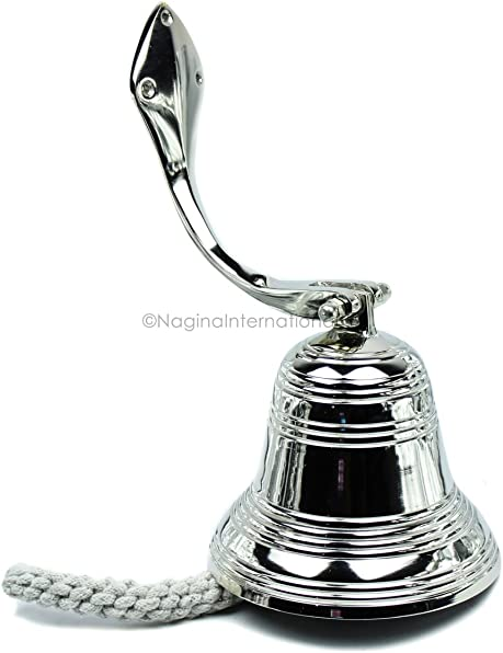 Nagina International 6″ Nickel Plated Round Premium Polished Aluminum Pirate's Boat Bell Accentual Ring