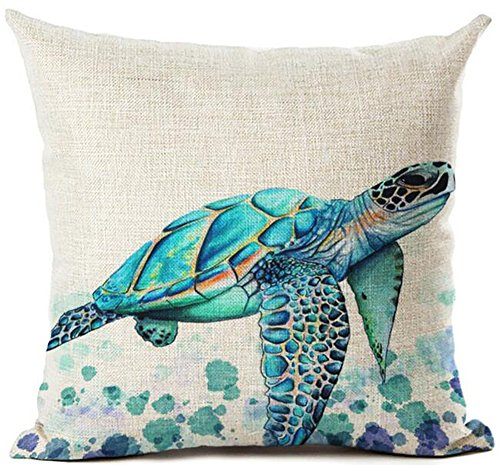 Beautiful Watercolor Beach Sea Turquoise Color Animals Sea Turtle Swimming Print Cotton Linen Decorative Throw Pillow Case Cushion Cover Square 18