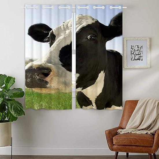 HommomH 24 x 36 inch Curtains 2 Panel Grommet Top Darkening Blackout Room Milk Cow Pasture