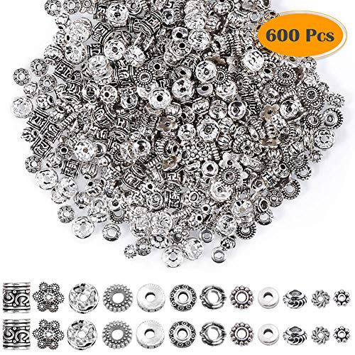 Paxcoo 600pcs 12 Style Silver Spacer Beads Jewelry Bead Charm Spacers for Jewelry Making Bracelets Necklace ()
