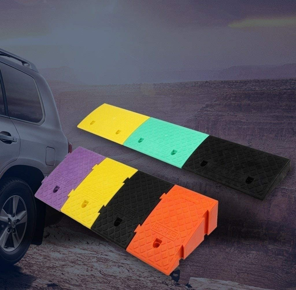 Color Portable Uphill Pad Non-Slip Splicable Car Ramps Suitable for Uphill and Downhill Step Pad Kerb Ramps 11 way bike CSQ-Ramps Plastic Slope Mat Color : Black, Size : 254418.5CM