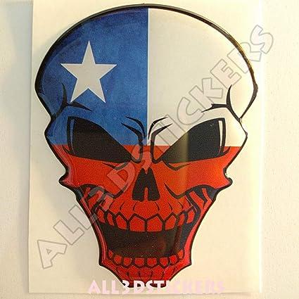 Pegatina Chile Calavera Bandera Chile Resina Relieve 3D Adhesivo Vinilo Skull: Amazon.es: Coche y moto