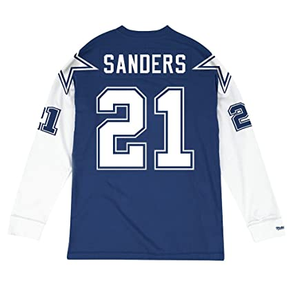 1e7178d71cd Mitchell & Ness Deion Sanders Dallas Cowboys NFL Blue 1995 Jersey Inspired  Longsleeve Knit Shirt For
