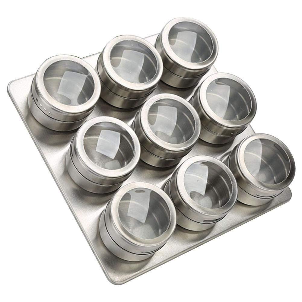 blendivt Gew/ürzdosen Aus Edelstahl 9-teilig 12-teilig Gew/ürzdosen-Set Magnetisch Staubdicht Sichtbar Gew/ürze Aufbewahrungsbox