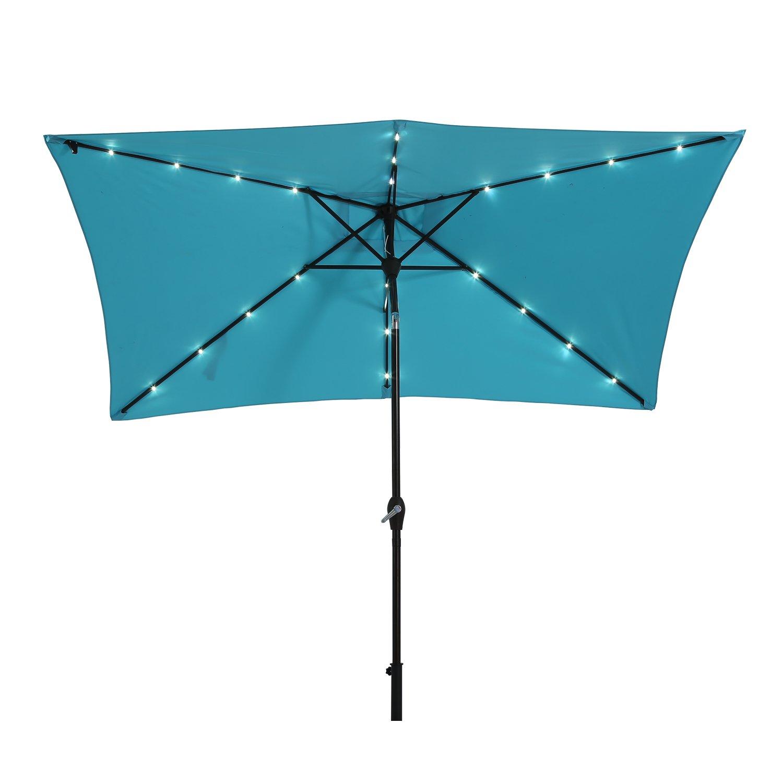 Paulla 10 x 6.5ft LED Lighted Patio Market Umbrella Outdoor Solar Powered Table Umbrella, 6 Ribs (Sky Blue)