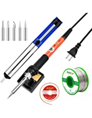 Soldering Iron Kit Electronics astarye 60W 110V Adjustable Temperature Welding Tool, 5pcs Soldering Tips, Desoldering Pump,Desoldering Wick, Soldering Iron Stand and Lead free solder wire