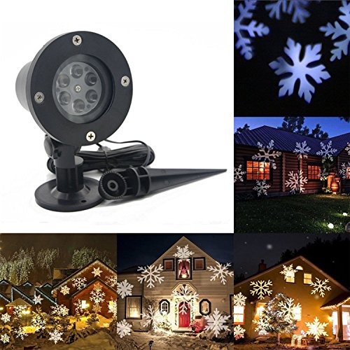 Christmas Projector Light Outdoor, LED Snowfall Rotating Snowflake Projector Lamp Waterproof for New Year Patio Garden by gllive