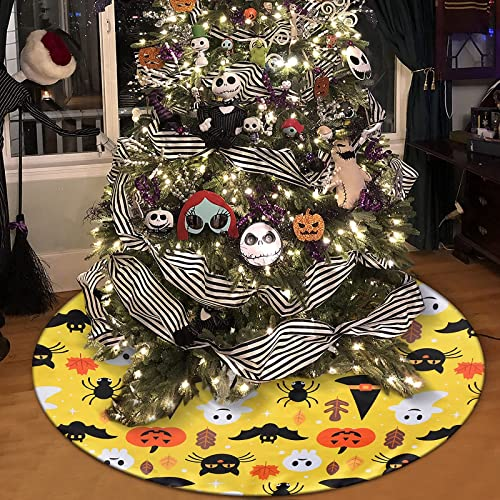 Sofevaim Halloween Ghost Bat Pumpkin Yellow Tree Skirt,48 inch Tree Mat for Xmas Holiday Party Decorations, Rustic Xmas Tree