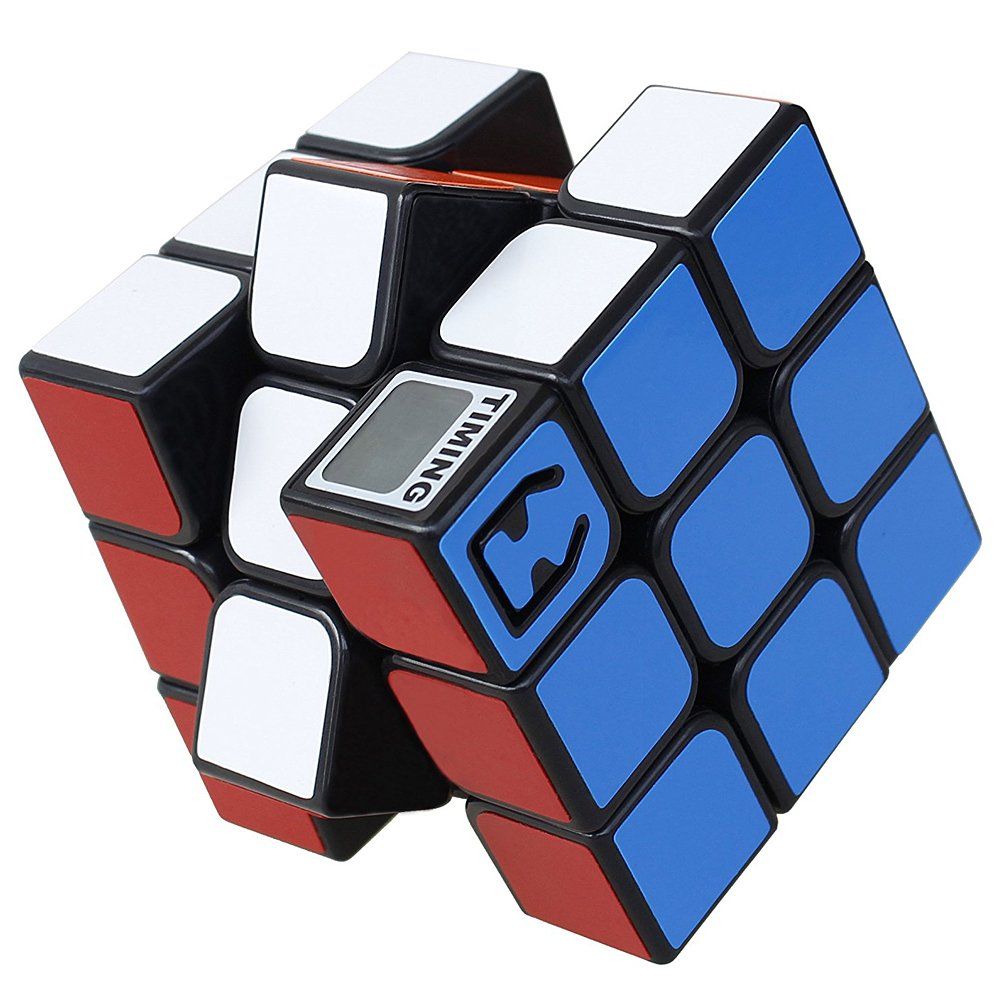 Magic Cube Speed Puzzle 3x3 Cube with Built-In Timer, Maggie Unfading Color Magic Cube Storage Set Smooth Puzzles Toy
