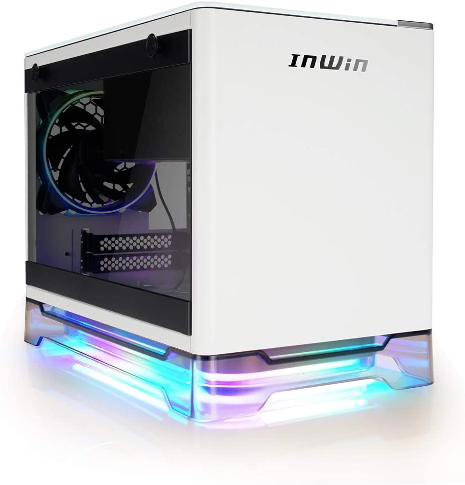 IN WIN A1 Plus White Mini-ITX Tower with Integrated ARGB Lighting - 650W Gold Power Supply - Qi Wireless Phone Charger - Computer Chassis Case