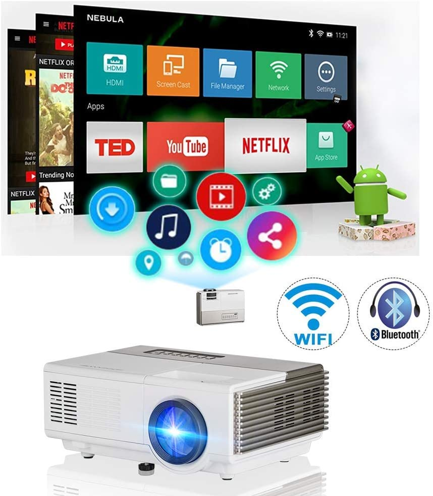 Wireless WiFi Bluetooth Mini Projector 2800 lumens Portable LED LCD Projectors Android Video Proyector Airplay Miracast Support HD 1080P with HDMI USB ...