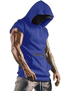 Karl Aiken Mens Bodybuilding Sleeveless Hoodie Gym Tank Top Workout Hooded Tank Tops