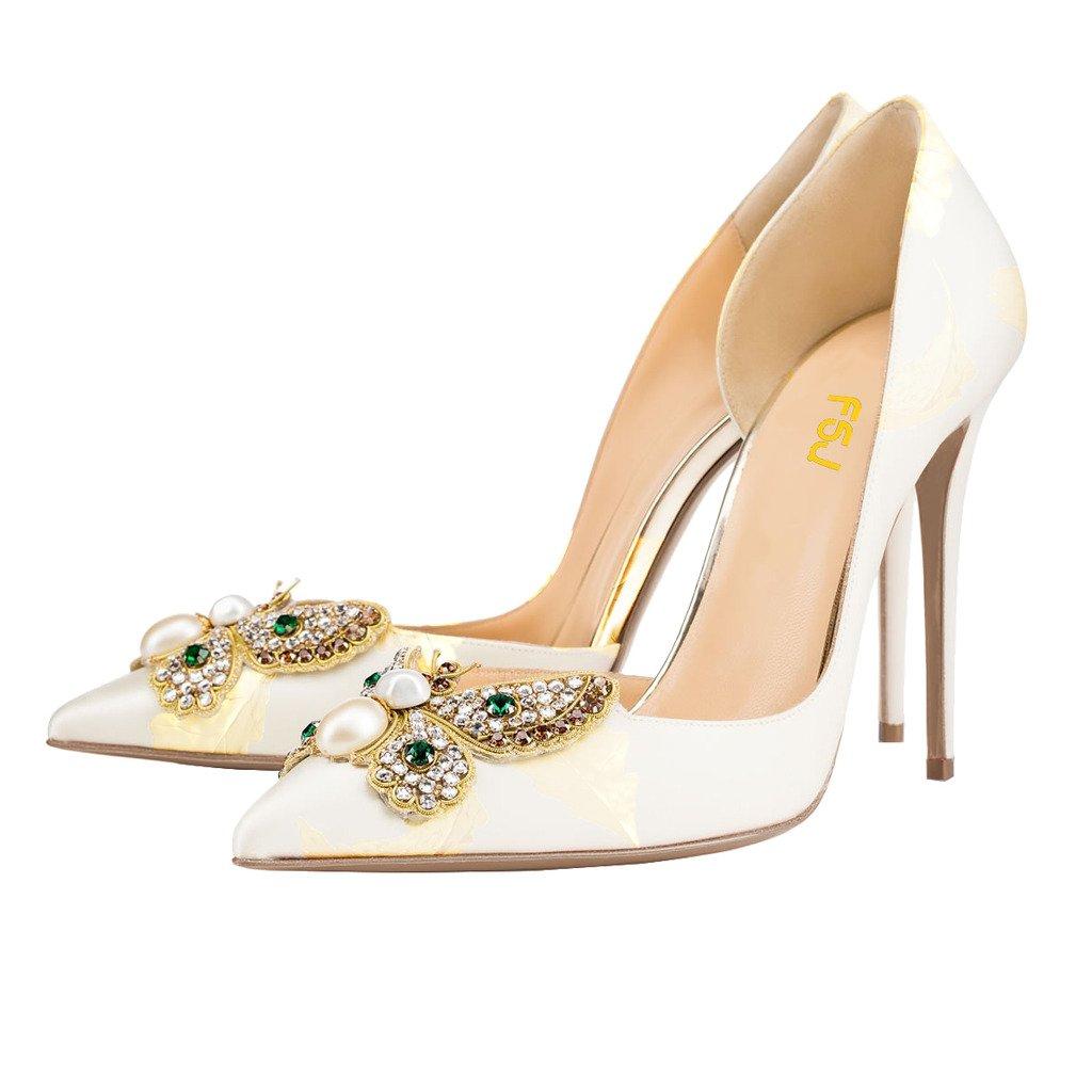 FSJ Women Classic Wedding Shoes Rhinestone Pointed Toe D'Orsay Stiletto High Heel Pumps Size 4-15 US B01HFXOO1A 15 B(M) US|White-yellow