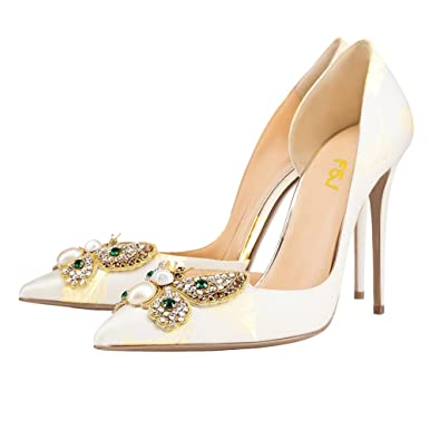 Women Classic Wedding Shoes Rhinestone Pointed Toe D'Orsay Stiletto High Heel Pumps Size 4-15 US