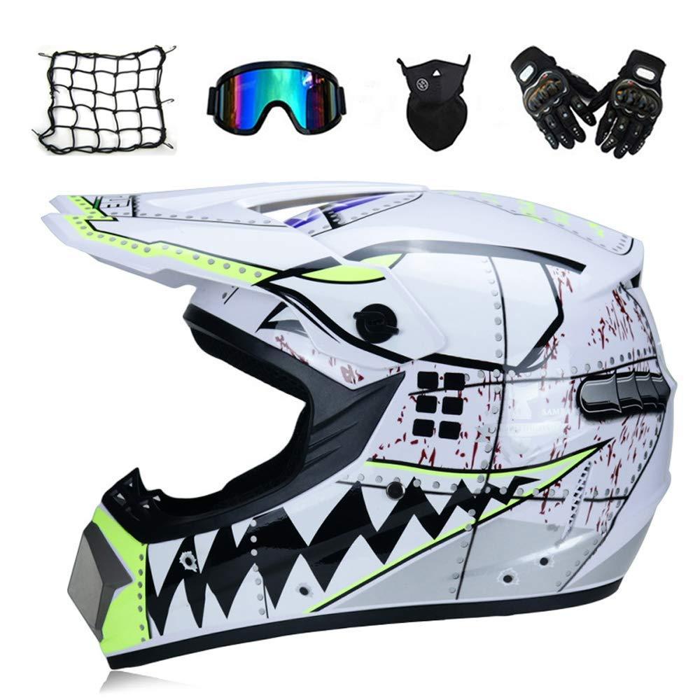 白い Shark - モトクロスヘルメットセットゴーグルグローブマスクヘルメットネット、子供クロスヘルメットフルフェイスオートバイクラッシュヘルメットバイクMTBオフロードATV,M