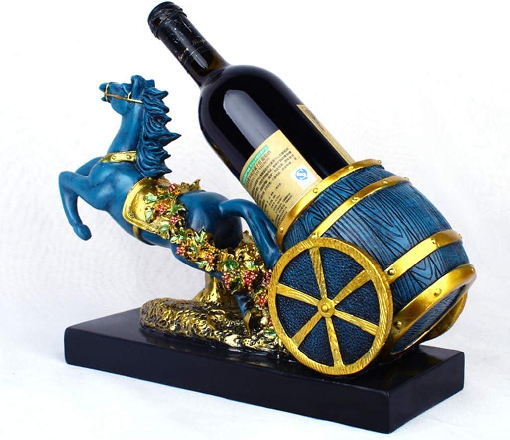 HEWEI Estante para vinos artesanías de Resina Continental Marathon y Elephant Pulling Wine Racks Regalos empresariales - Azul