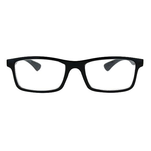 6ab33d88083 Amazon.com  Luxury Fashion Classic Thin Rectangular Plastic Frame Reading Glasses  Black +1.0  Clothing