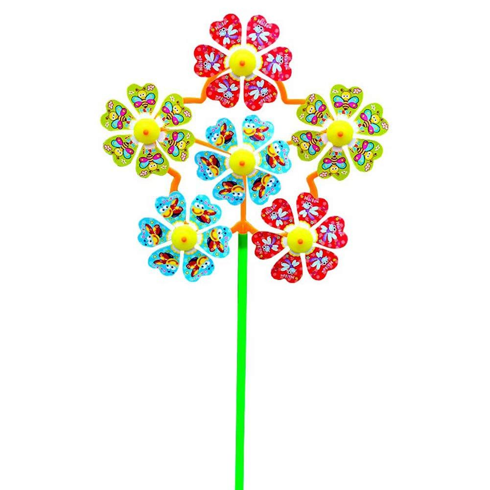 Shuohu 2Pcs Flower Outdoor Windmill Wind Spinner Pinwheels Home Garden Yard Decor Kids Toys