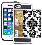 Credit Card ID Holder Wallet Case For iPhone 5/5S/SE Dual Slim Shock-Resistant Hybrid Armor Case - Holds 2 Cards & Cash By Corpcase. Designer ID / CARD Slider Pattern Vintage Black Floral Damask