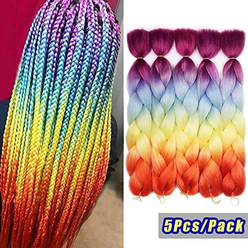 Synthetic Hair Braiding - Ombre Colors Braid Kanekalon Hair 5pcs Synthetic Afro Braiding Hair Extensions 24 Inch 4 Tone for Women Twist Crochet Braids 100g (#60 Rainbow Color)