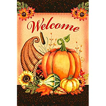 Toland Home Garden Welcome Cornucopia 28 x 40 Inch Decorative Thanksgiving Harvest Double Sided House Flag