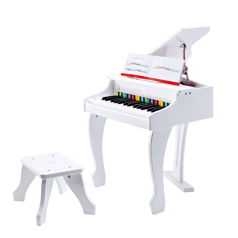 Hape Instrument de Musique en Bois Premier Age-Piano à Queue, E0338, Blanc Hape International