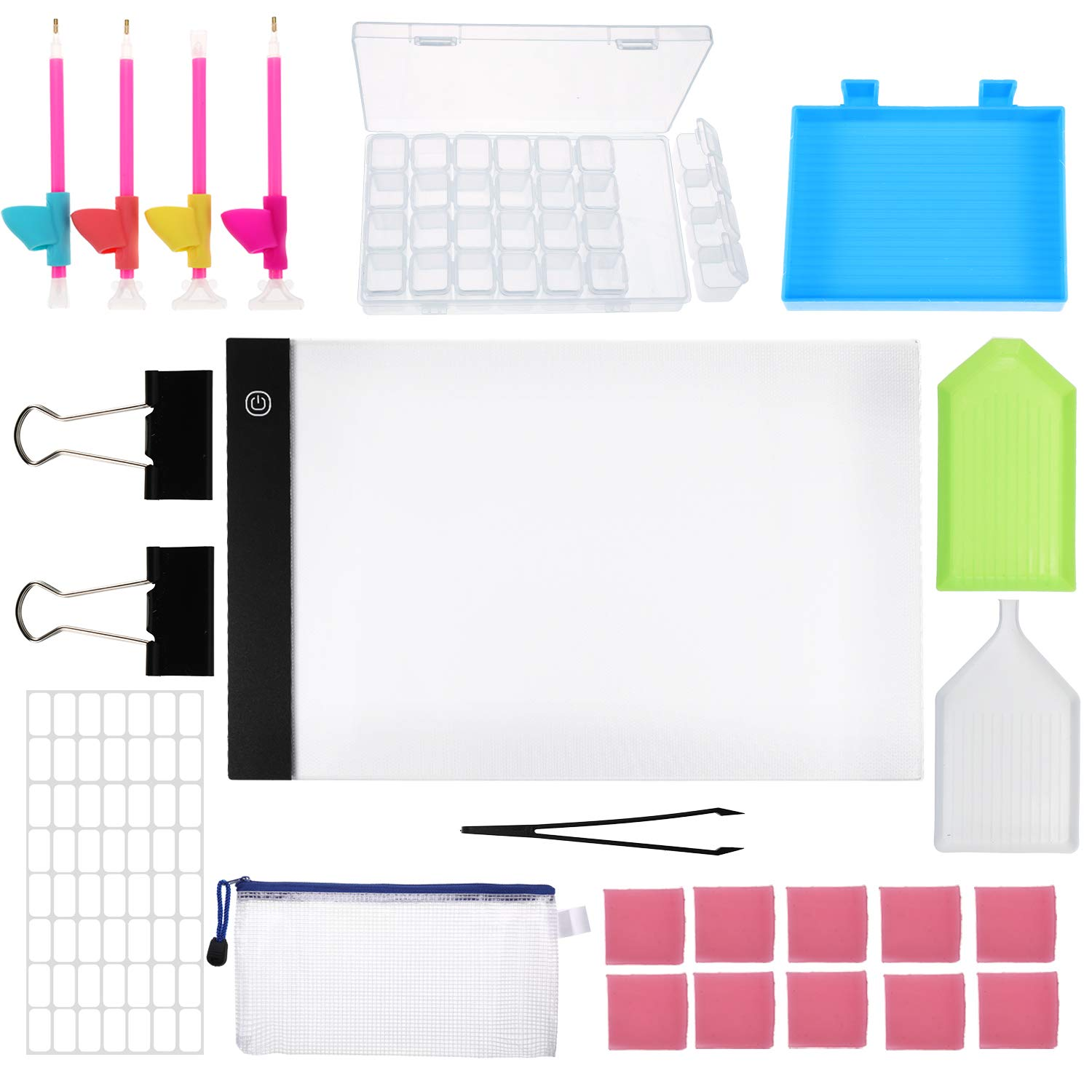Blulu A4 LED Light Box Light Board with Diamond Painting Tools and Black Binder Clips, Silicone Pencil Holder Grips