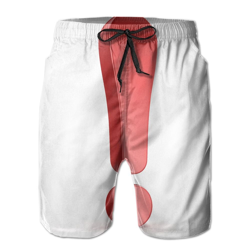 SmallHan Mens Red Exclamation Mark Isolated On White White Sports Swimming Trunks Adjustable Beach Shorts With Pockets