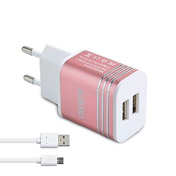Aukru 5V 2.1A Cargador Tiene 2 USB Puertos con un Micro USB Cable Enchufe Europeo para móvil o tabletas/Samsung Galaxy S7 / S6 / Sony ...