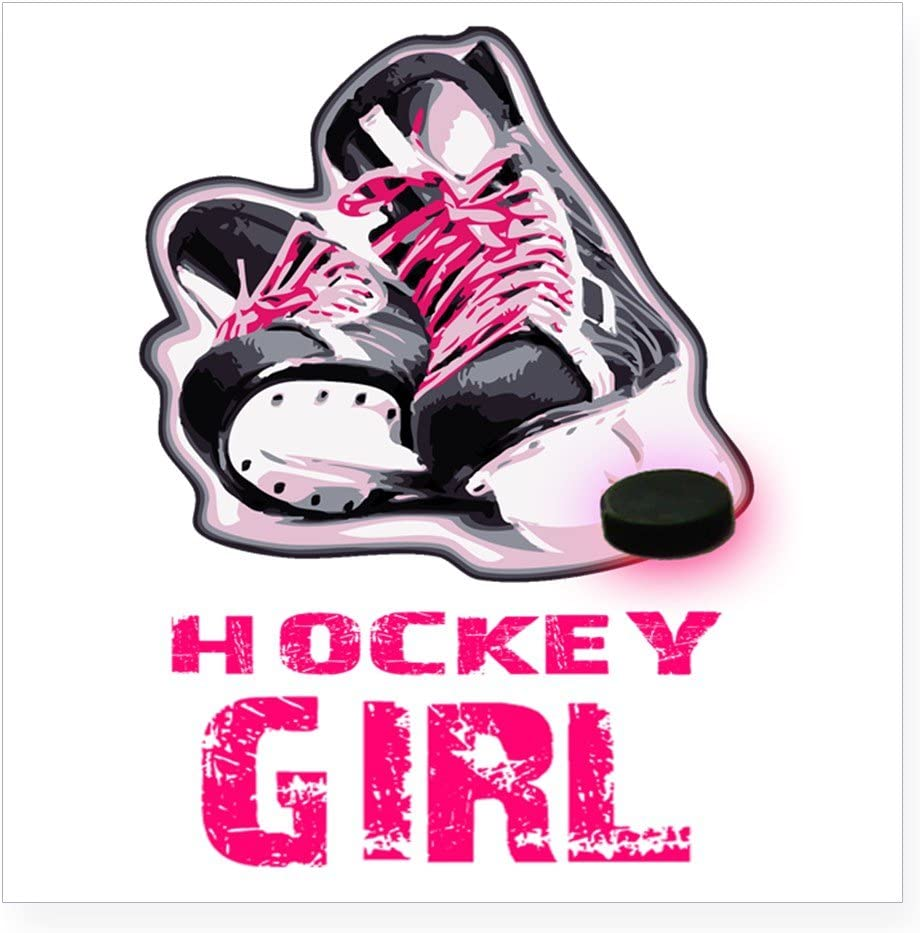 Small Hockey Girl Sticker Square Bumper Sticker Car Decal or 5x5 3x3 Large CafePress