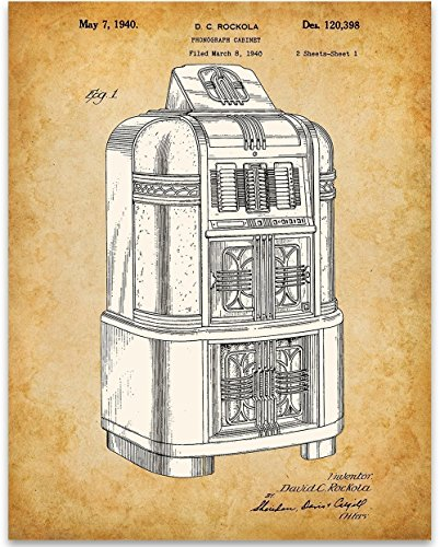 Rock-Ola Jukebox Record Player Art Print - 11x14 Unframed Patent Print - Great Game Room/Bar Decor