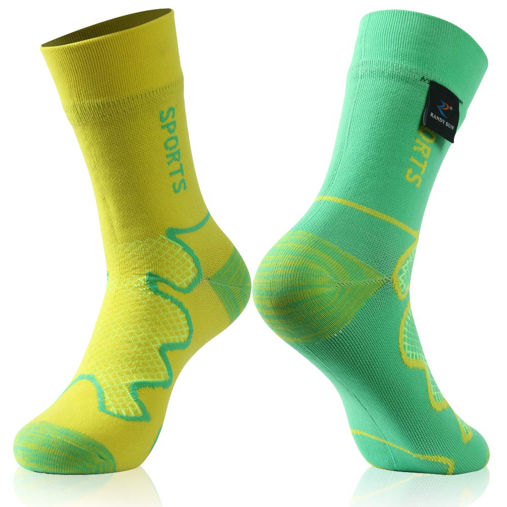 Waterproof Tennis Socks, RANDY SUN Unisex Sport Socks & Breathable Hiking/Trekking/Skiing Socks, 1 Pair-Different Colors in Two Fashion Socks-Mid calf socks,XS