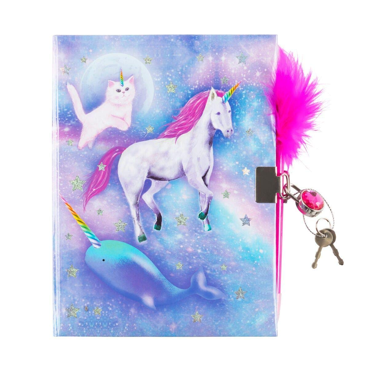 3C4G Celestial Unicorn Dreams Children's Journal with Gem Lock and Feather Pen (36060) 3C4G Three Cheers For Girls