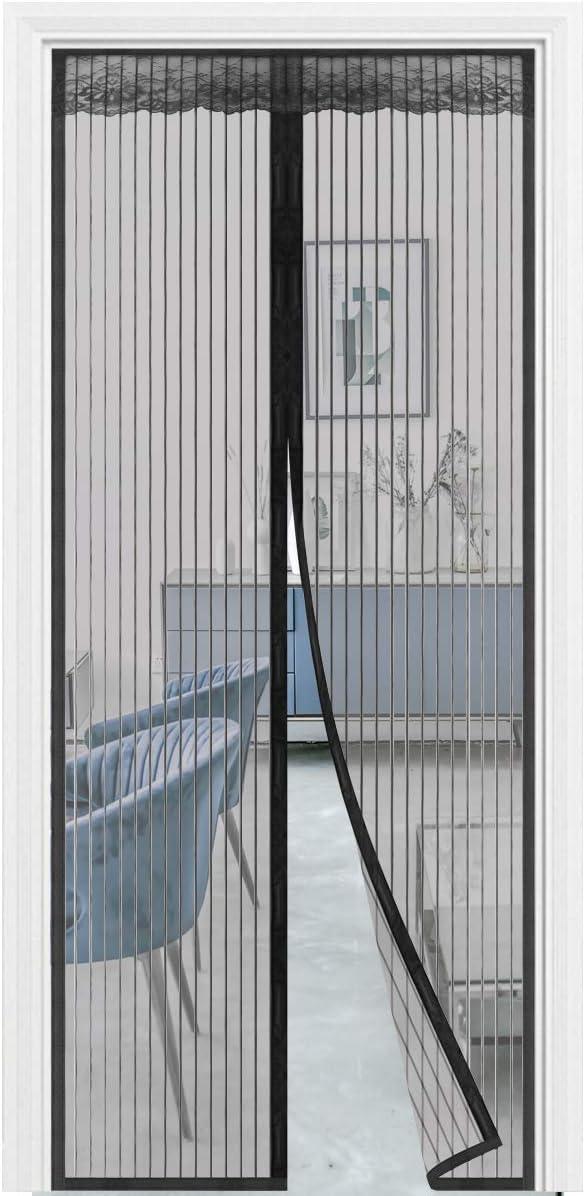 Puerta mosquitera magnética, puerta mosquitera con 32 imanes, cortina de malla resistente con gancho de marco completo y pasta mágica para puerta de patio, antimosquitos 35 x 82, negro