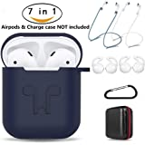 AirPods Case 7 in 1 Airpods Accessories Kits Protective Silicone Cover and Skin for Apple Airpods Charging Case with Airpods Ear Hook Grips/Airpods Staps/Airpods Clips/Skin/Tips/Grips Blue by Amasing