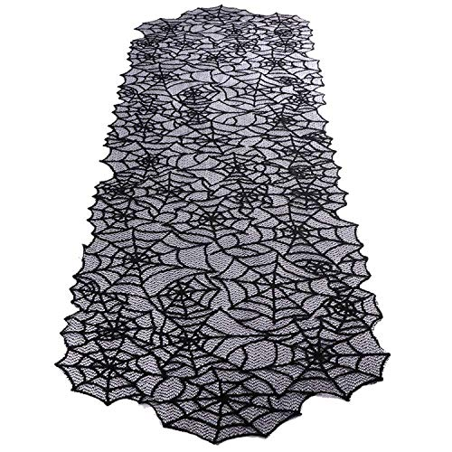 Halloween Lace Table Runner 51X203Cm Spiderweb Table Cover for Halloween Decoration Accessories Event Party Supplies,Black