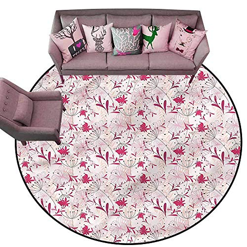 Large Floor Mats for Living Room Colorful Floral,Abstract Florets Pink Diameter 78