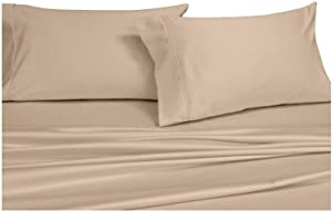 Royal Hotel Adjustable King Bed Sheets 5PC Solid Tan 100% Cotton 600-Thread-Count