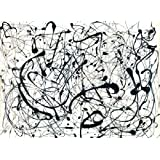 Number 14 Gray by Jackson Pollock Abstract Lines Metallic Poster (Choose Size of Print)
