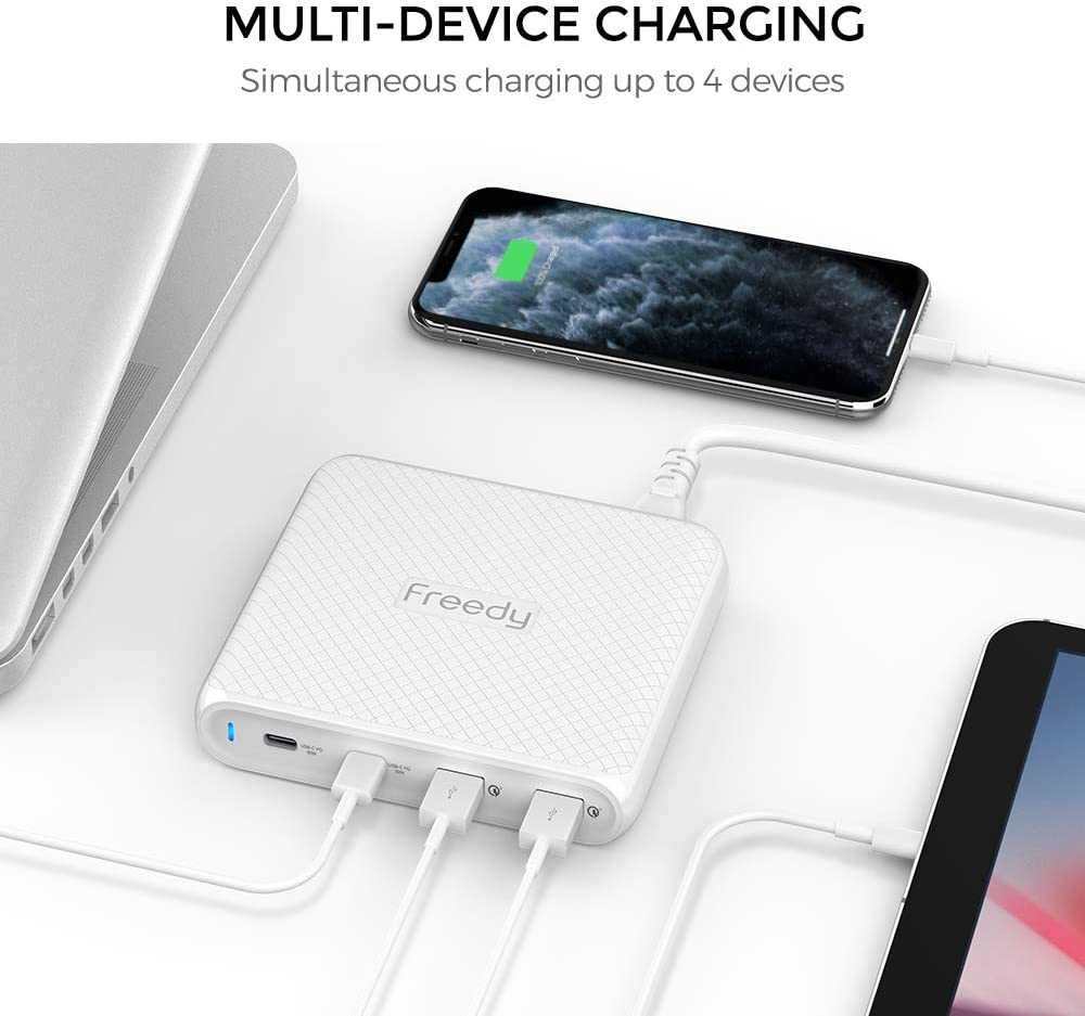 Freedy 90W USB-C Travel Charger Power Station Fast Charging Adapter [2 USB-C PD & 2 QC 3.0] [USB-IF Certified] - Compatible w MacBook, iPad Pro, ...