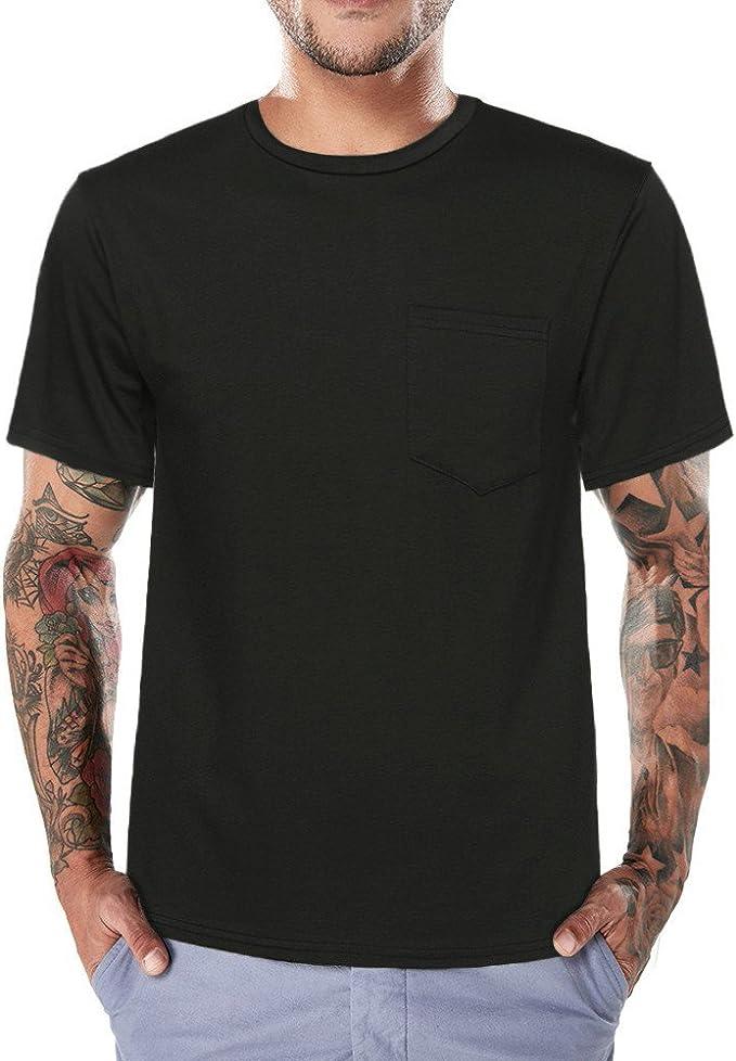 Men Short Sleeve Contrast Zip up Casual Slim Fit O-Neck T-Shirt
