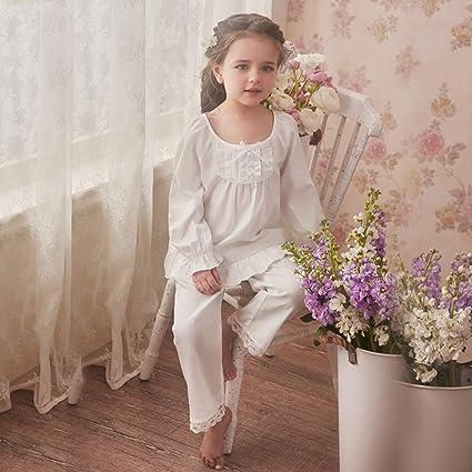 Pijamas Pijamas para Niños Niñas Ropa De Dormir Dos Piezas Algodón Primavera Otoño Blanco Princesa Cuello