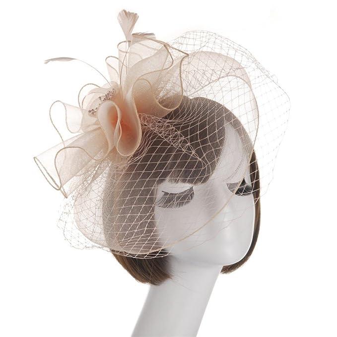 Topgrowth Cappello Donna Fascinator Sposa Copricapo Fiore Mesh Organza  Nastri Cocktail Cappelli Cerimonia Matrimonio Cappello ( 57dab52d1361