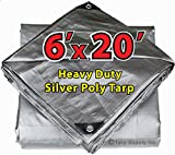 6' X 20' Heavy Duty 14 By 14 Cross Weave 10 Mil Silver Poly Tarp with Grommets Approx Every 24 Inches All Around, Corner Solid Plastic Bar Reinforcement for Extra Strength
