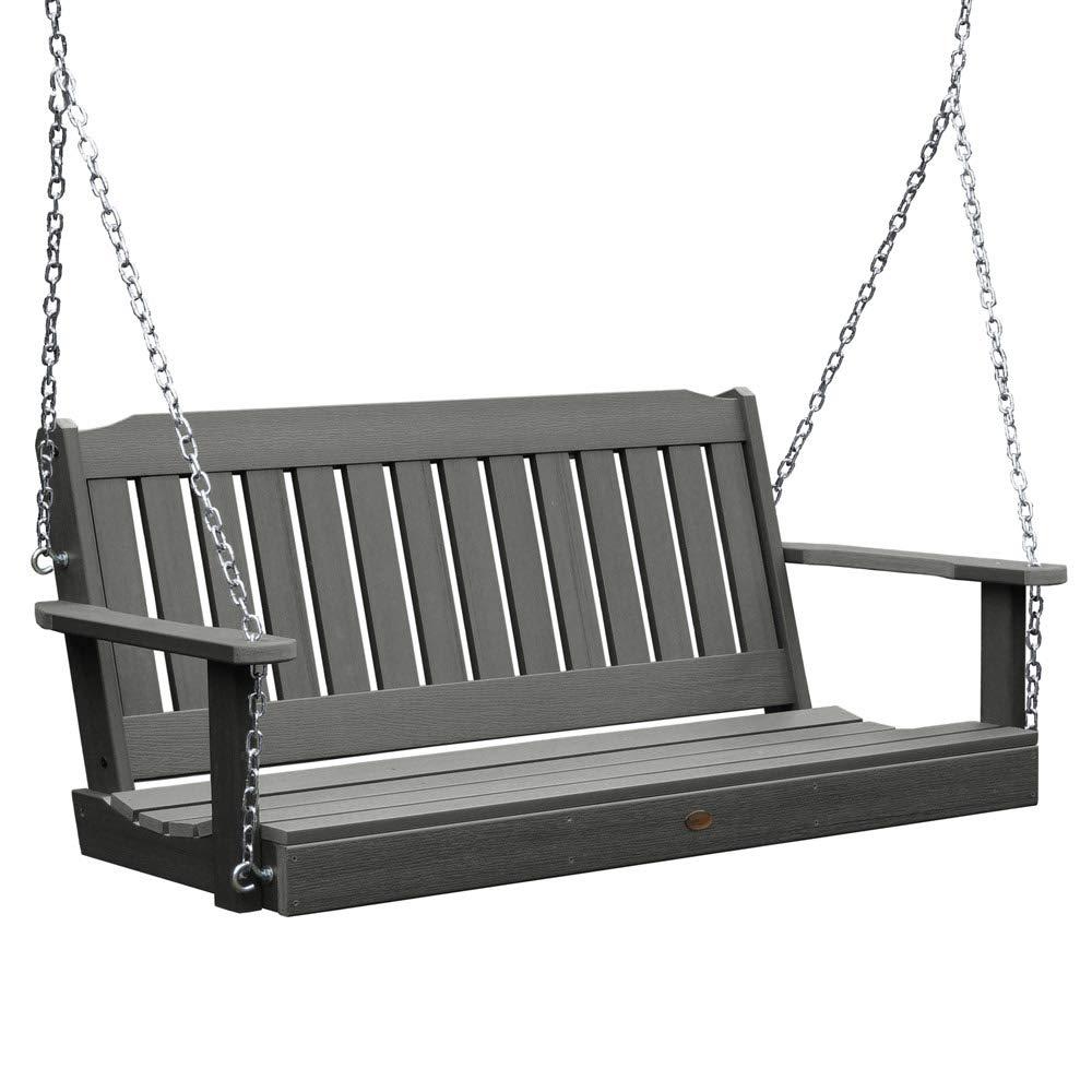 SKB family 4 Foot Lehigh Porch Swing, 52'' x 22'' x 24'' x 60 lbs, Coastal Teak