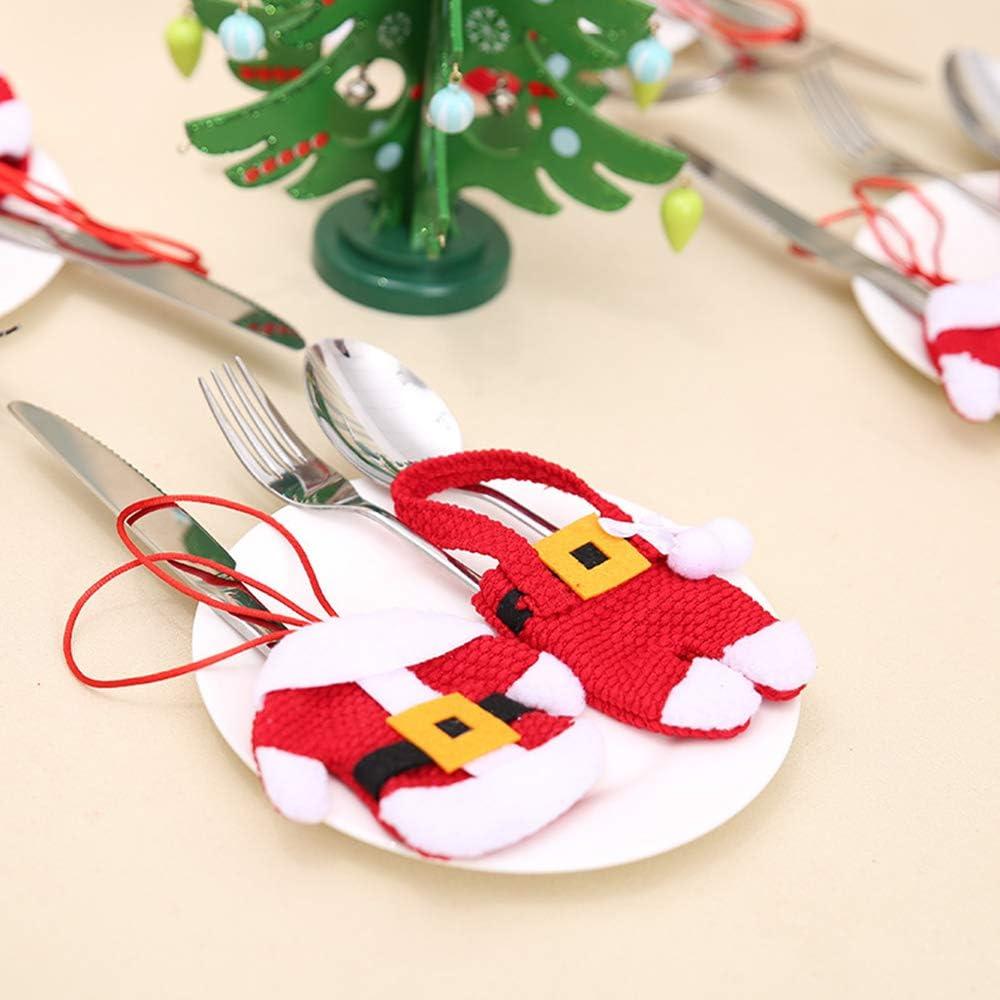 con 6 biglietti di Natale Set di 12 posate 6 pezzi costume decorazione natalizia decorazione natalizia piccoli pantaloni e decorazione per bicchieri da vino cappelli di Babbo Natale posate