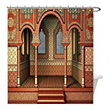 Liguo88 Custom Waterproof Bathroom Shower Curtain Polyester Arabesque Decor Middle East Oriental Inner Palace Islamic Architecture Vintage Art Design Golden Red Decorative bathroom