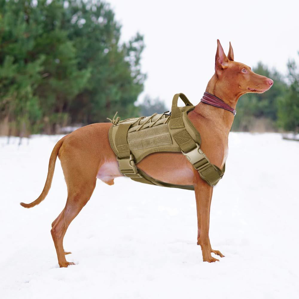 Negro, XL Gonex Arn/és Perros Chaleco T/áctico para Perro Entrenamiento Militar Molle Accesorios Protecci/ón para Mascota al Aire Libre 1000D Nylon Transpirable C/ómodo con Asa y 2 Bolsos Desmontables