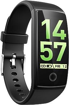 Reloj de pulsera inteligente con monitor de actividad y pulsómetro VicTsing, impermeable, con pantalla táctil, funciona con podómetro, monitor de sueño, contador de calorías, para iOS y Android, color azul: Amazon.es: Deportes