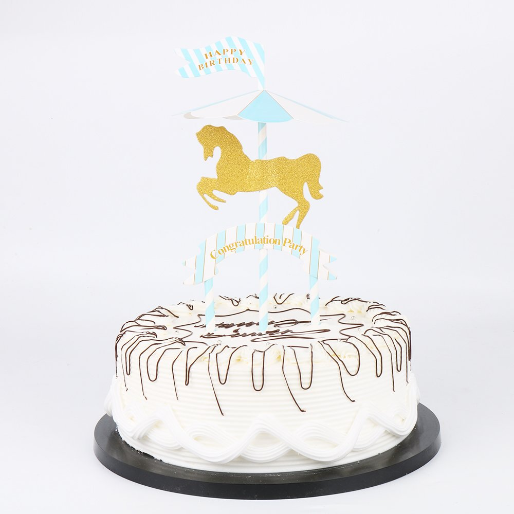 Amazon Yuinyu Happy Birthday Cake Topper Gold Carousel For
